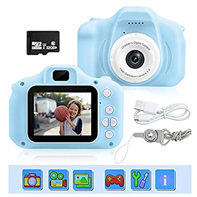 Kids Camera, 1080P 8 Mega Pixels Mini 2.0 inch IPS Display Shockproof Children Digital Cameras Birthday Toy Gifts 4-12 Year Old Kid Action Camera Toddler Video Recorder by ATDIAG
