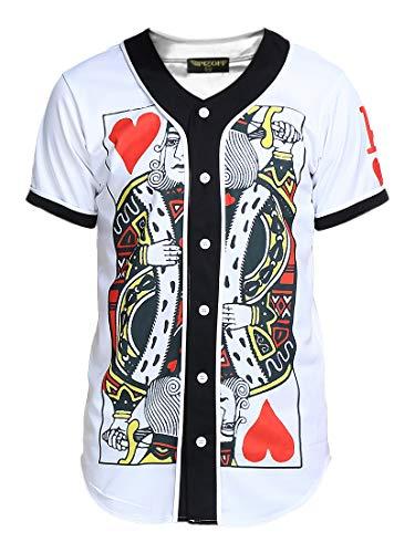 PIZOFF Short Sleeve Arc Bottom 3D King of Heart Print Baseball Jersey Shirt Y1724-5-L
