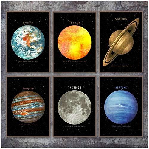 MULMF Planet Weltraum Erde Mond Venus Saturn Sonne Wandkunst Leinwand Malerei Poster Drucke Wandbilder Für Wohnzimmer Dekor- 50X70Cmx6 Kein Rahmen