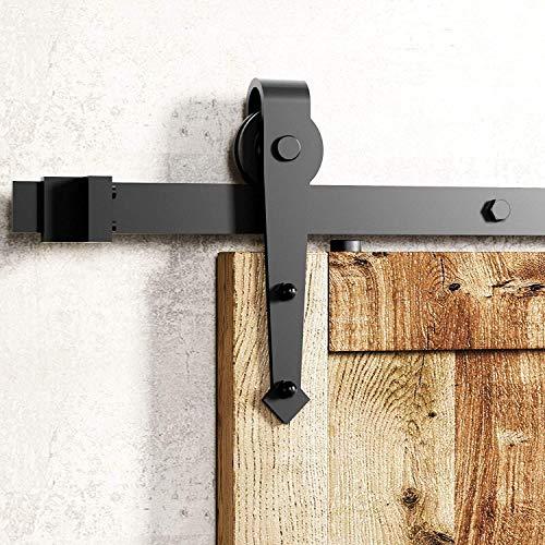 Schiebetürbeschlag, Schiebetür Set Schiene, Laufschienen für Schiebetürsystem Komplettset (183CM/6FT, Pfeilform)