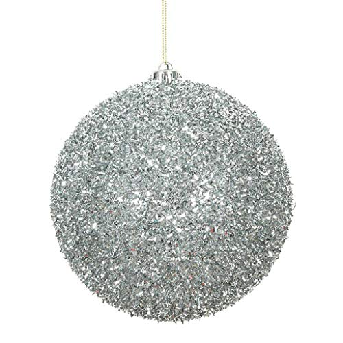 "Price comparison product image Vickerman 510926-6"" Silver Tinsel Ball Christmas Christmas Tree Ornament (2 pack) (N178207)"