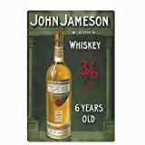 Original Vintage Design 6 Years Old Whiskey Tin Metal Wall Art Signs, John Jameson Thick Tinplate Print Poster Wall Decoration for Bar/Kitchen/Man Cave