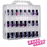 DreamGenius Portable Nail Polish Clear Organizer for 48 Bottles, Double Side and Locking Lids Gel Polish Storage Holder, Space Saver with 8 Adjustable Dividers