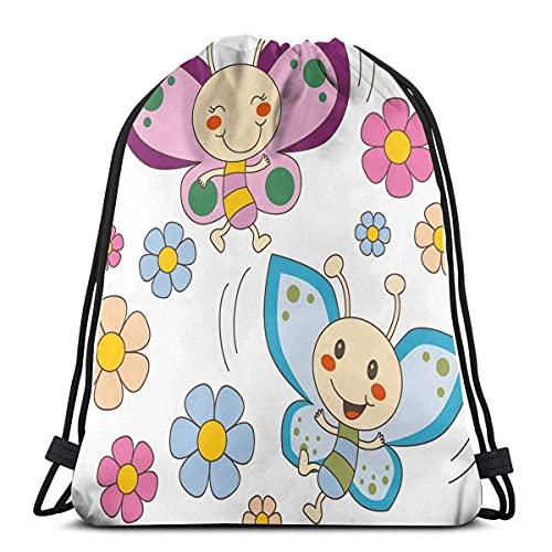 Lilla e blu bambino bambino farfalle volare tra fiori primaverili allegro natura, chiusura regolabile stringa stampato coulisse zaini borse