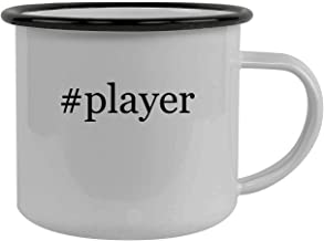 #player - Stainless Steel Hashtag 12oz Camping Mug, Black