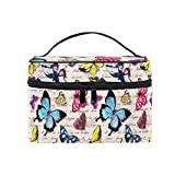 Makeup Bag, Vintage Butterfly Hand Written Text Travel Makeup Organizer Bag Cosmetic Cases Toiletry Bags for Girl Women Ladies