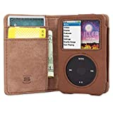 Snugg iPod Classic Case, Brown Leather Leather Flip Case [Card Slots] Executive Apple iPod Classic Wallet Case Cover and Stand Legacy Series