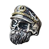 FORFOX WWII Oficial Anillo de Calavera Barba con Sombrero de