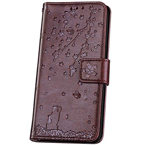 JAWSEU Compatible avec Samsung Galaxy J4 2018 Coque Portefeuille Cuir à Rabat Étui Housse Premium PU Magnétique Élégant Beau Chat Fleur de Cerisier Slim Leather Flip Wallet Case Etui,café