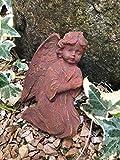 Angelo per tomba o croce commemorativa decorazione tomba a forma di cuore per tomba con 2 fili rigidi per il fissaggio o la terra (angelo ruggine con filo)