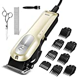 OMORC Dog Clippers with 12V High Power for Thick Coats, Professional Heavy Duty Dog Grooming Kit, Plug-in & Quiet Pet Clippers with 8 Comb Guides, 1 Scissor, 1 Comb, 1 Cleaning Brush (Yellow)