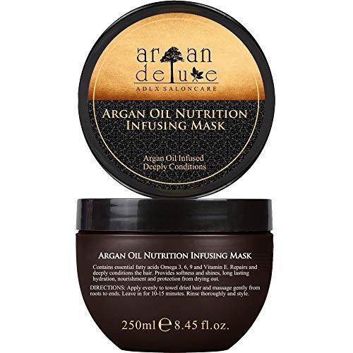 Argan Deluxe Haarmaske in Friseur-Qualität 250 ml - Haarkur mit Arganöl zur intensiven Pflege - für Geschmeidigkeit und Glanz. Effektive Haarpflege für trockenes, strapaziertes und geschädigtes Haar.