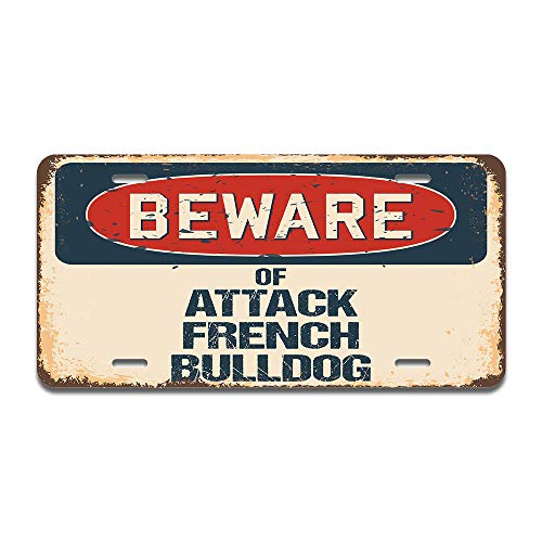 SignMission Beware of Attack French Bulldog Aluminum License Plate 12' X 6' Fits Any Car, Truck, SUV, RV, or Trailer | Made in The USA