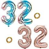 Haosell Juego de 2 globos para fiesta con el número 32, arcoíris y oro rosa, globos de helio número 32 para cumpleaños, decoración XL de 32 pulgadas, globos para decoración de cumpleaños