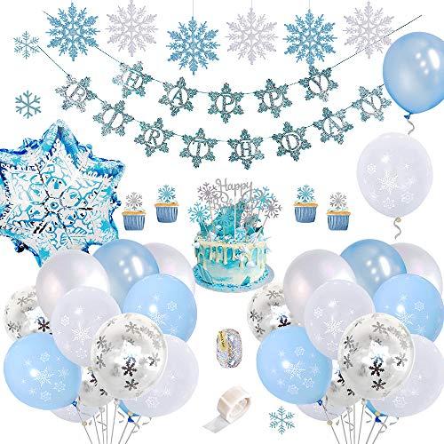 SPECOOL Decoraciones Fiesta Cumpleaños Copo Nieve con Happy Birthday Bandera,Adornos Pastel DIY, Globos Látex Azul Blanco Confeti Congelados para Niñas Mujeres Cumpleaños Baby Shower Party Telón
