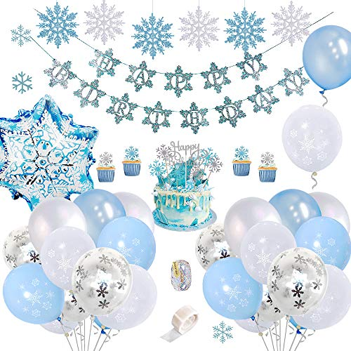 SPECOOL Sneeuwvlok Verjaardagsfeest Decoraties met Happy Birthday Banner, DIY Cake Toppers, Frozen Blue & White & Confetti Latex Ballonnen voor Meisjes Vrouwen Verjaardag Baby Shower Party Achtergrond