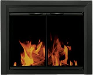 Pleasant Hearth CL-3302 Carlisle Glass Firescreen Black-Large Fireplace Door,