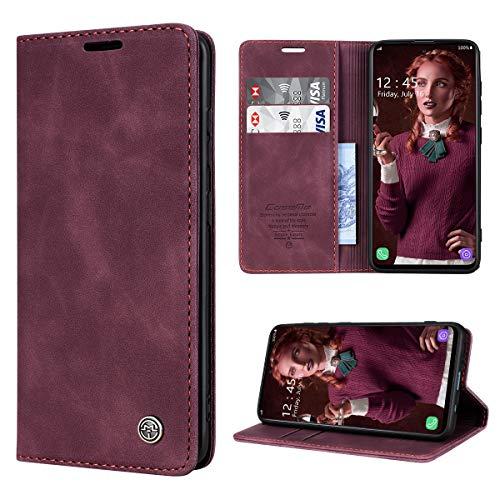 RuiPower Handyhülle für Samsung Galaxy A51 Hülle Premium Leder PU Flip Hülle Magnetisch Klapphülle Wallet Lederhülle Silikon Bumper Schutzhülle für Samsung Galaxy A51 4G Hülle - Wein Rot