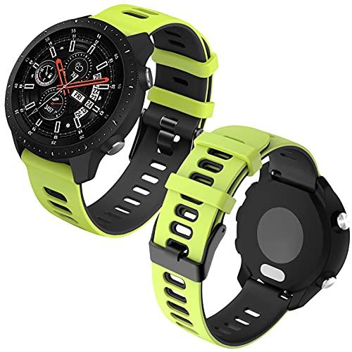 Th-some 22mm Repuesto de Correa para Samsung Galaxy Watch 3 (45mm)/Gear S3 Frontier/Classic/Galaxy Watch 46mm/Huawei GT/GT2 46mm, Banda de Reloj de Silicona Bicolor Ajustable (Lima negro)
