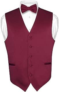 Men's Dress Vest & Bowtie Solid Burgundy Color Bow Tie Set for Suit or Tuxedo