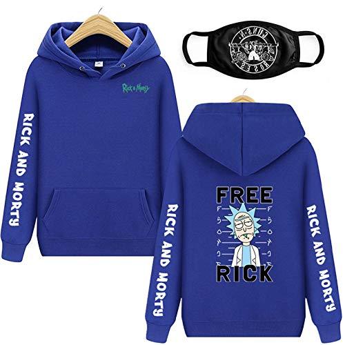 Vowit Sudadera con capucha Rick And Morty Fashion Sudaderas con capucha, sudaderas, primavera, otoño, para hombre/señora, casual, azul, L
