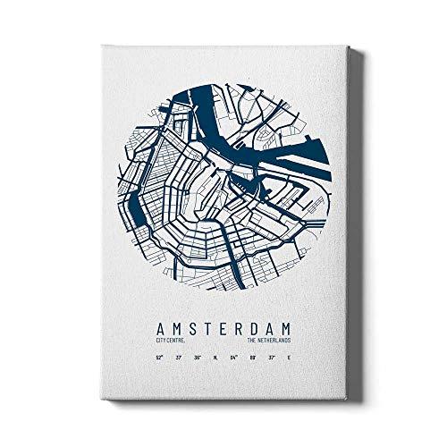Stadskaart Amsterdam Centrum IV - Walljar - Muurdecoratie - Schilderij - Canvas