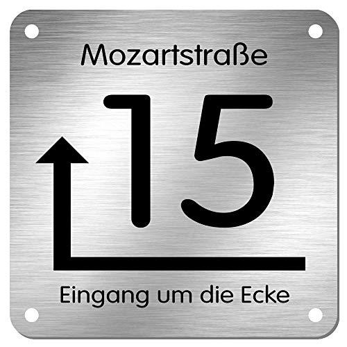 Edelstahl Hausnummer Namensschild Hinweisschild mit Pfeil und individueller Laser-Gravur * Modell 15 (200 mm x 200 mm)