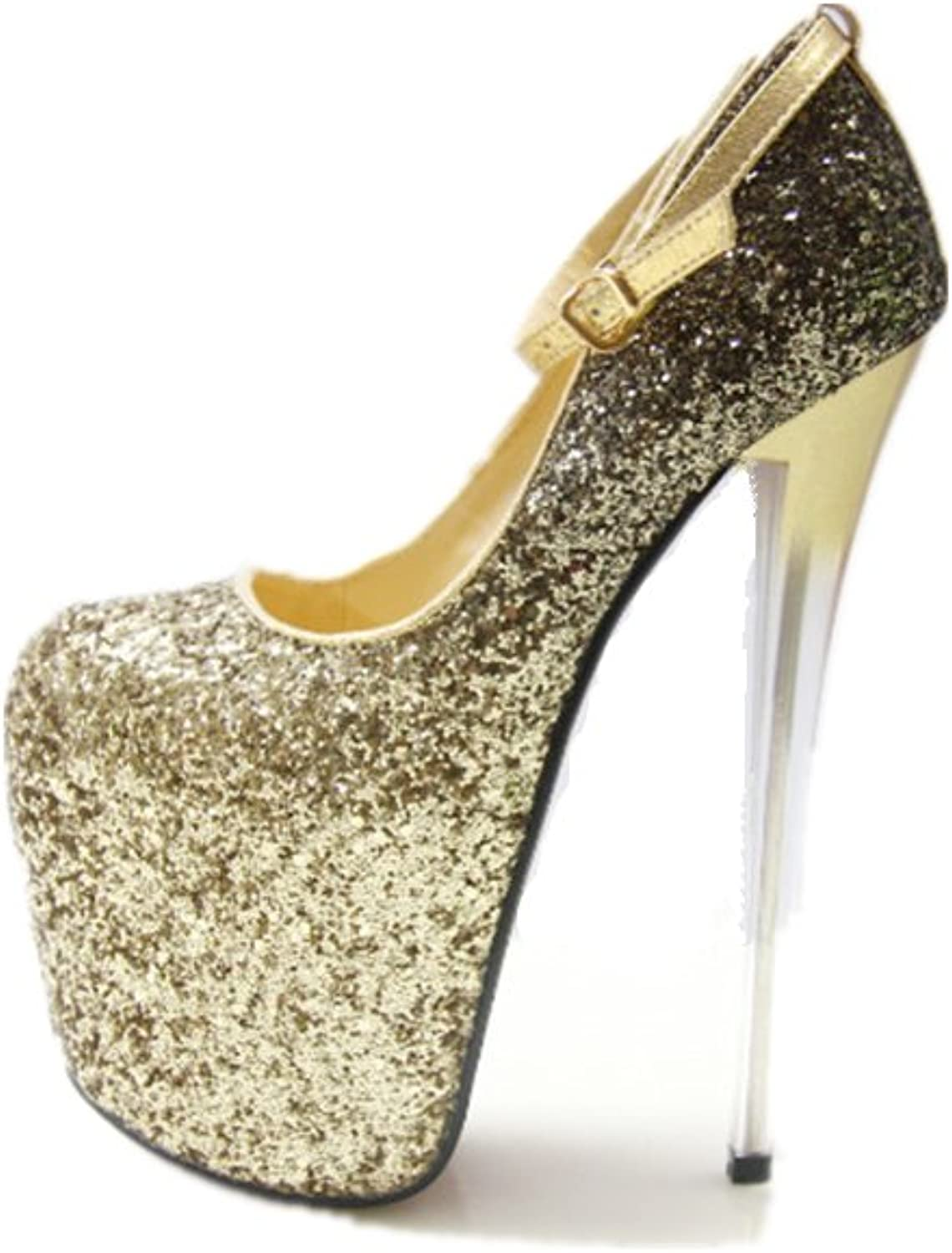 Women's Sexy Sequined Peep Toe Platform Buckle Stiletto High Heels Sandals with Ankle Straps