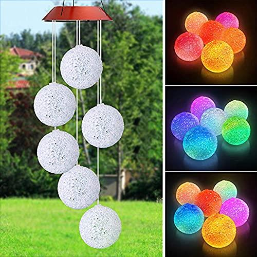 Luces De Jardín De Luz De Carillón De Viento con Energía Solar Que Cambian De Color 6 Luces De Bola De Cristal para Patio