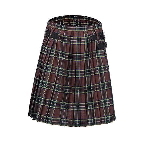 Hermosa Kilt Falda Escocesa Falda Escocesa Gótica Punk Escocesa para Disfraz, Faldas De Bolsillo para Hombre, Faldas De