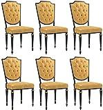 Casa Padrino Conjunto de sillas de Comedor Barroco Oro/Negro/Oro Antiguo 50 x 50 x A. 105 cm - Nobles sillas de Cocina con Cuero Conjunto de 6 sillas barrocas