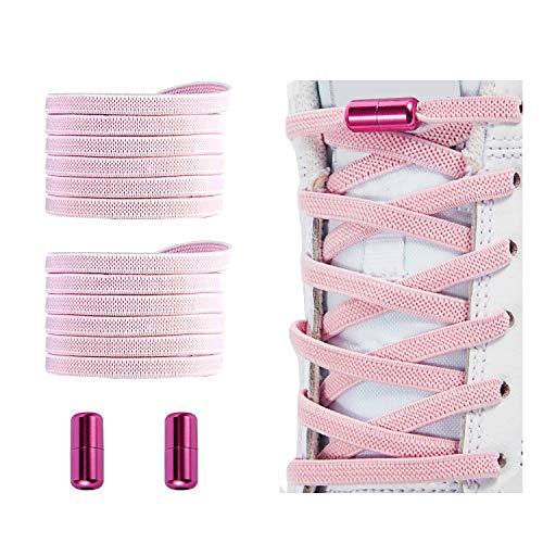 No Tie Shoelaces , Elastic Shoelaces for Adults/Kids,Elastic No Tie Shoe Laces Pink