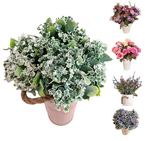 Flores/Plantas Artificiales Decoración Jarrones para Boda Eventos, Paniculata Gypsophila Blancas para Decorar Hogar Hotel Tienda Oficina Jardin Masetas (Blanca, Flor Pack 4)