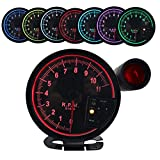 Dewhel 5' inch 7 Color LED 11K 12V Electronical RPM Tachometer Rev Counter Gauge with Red Shift Light Black Face Auto JDM Universal 11000 Sport Meter Kit Car Accessories