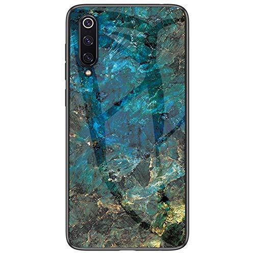 BINGRAN Xiaomi Mi 9 SE Hülle,Marmor Motiv Gehärtetes Glas Rückendeckel + Weiche TPU Silikon Stoßstange Stoßdämpfung Schutzhülle Handy Hülle für Xiaomi Mi 9 SE 5.9