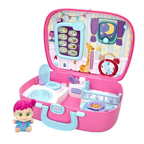 Baby Buppies - Casa Maletín Interactivo con Sonidos divertidos y 10 Complementos bebé Sorpresa Guía de cuidados y certificado de nacimiento Juguetes niños 3 años