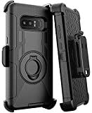 E LV Holster Case for Galaxy Note 8 - Shock-Absorption/High Impact Resistant Armor Full Body Protective Case Cover with Kickstand and Belt Swivel Clip for Samsung Galaxy Note 8 Case Black