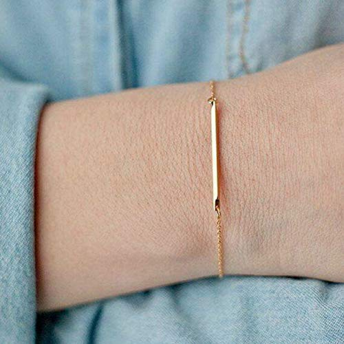Bracelet Simple Fadeless Alloy Slim Bar Shape Women Bangle Chain for Dating - Golden - Bracelets - Birthday Gifts Christmas Stocking Filler Gifts Valentines Gifts Easter Gifts