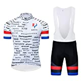 Logas - Camiseta de Francia con diseño de la bandera de Francia - Conjunto de ciclismo de manga corta para hombre + pantalones cortos con gel 3D acolchado