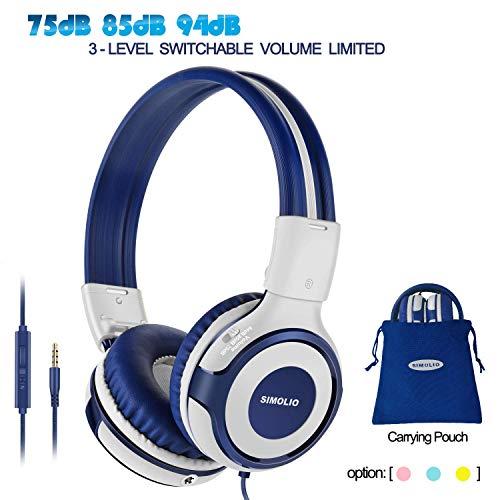 SIMOLIO Wired Headphones Teens Children Girls Boys, Adjustable 94dB,85dB,75dB Volume Limited, Durable Headphone w/Mic for School/PC/Cellphone, On-Ear Headphone Kids with Share Port 3.5mm Jack (Grey)