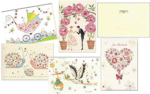 Set aus 5 Glückwunschkarten zur Hochzeit und zur Geburt Baby - hochwertige Grußkarten von Turnowsky (3x Baby und 2x Hochzeit)