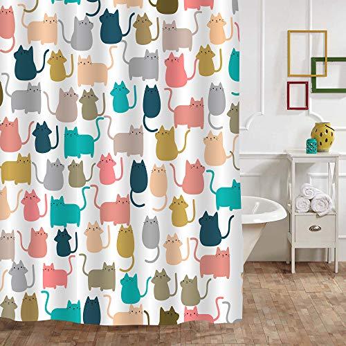 "MitoVilla Cute Cat Shower Curtain, Colorful Cartoon Happy Kitty Cat Kitten Pattern Bathroom Decor for Women, Kids Girls, Waterproof Fabric Bathroom Accessories, Gifts for Cat Lovers, 72"" W x 72"" L"