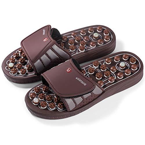 BYRIVER Strumento per massaggiatore plantare per riflessologia, Tappetino per digitopressione, Pantofole da massaggio Scarpe Sandali, Piedi di sollievo, dolore lombare, Regalo per mamma papà (03M)