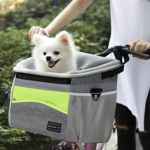 Petsfit Safety Dog Bike Basket Pet Bicycle Carrier Dog Travel Car Booster Seat for Small Dogs and cat with safety rope,reflective strips,adjustable shoulder strap,two side storage pockets
