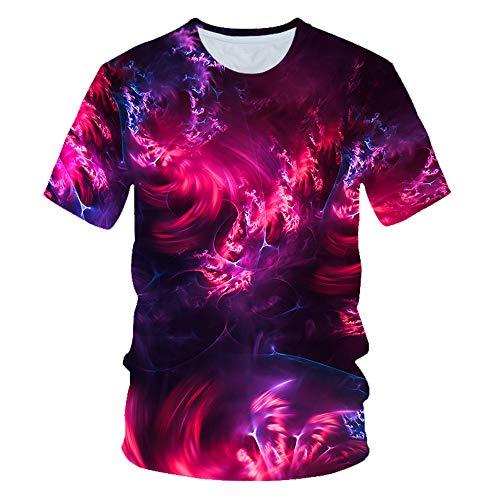 T-shirt à vele courtes pour Hommes 3D Rouge Foncé Image Imprimé Club d'été Unisex Rue Adolescent décontracté thee-shirt vele Courtes Jeunesse Vacances Plage Hip-Hop
