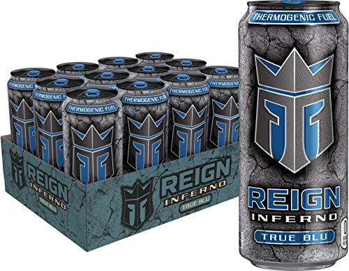 Reign Inferno True Blu, Thermogenic Fuel, Fitness and Performance Drink, 16 Ounce (Pack of 12)