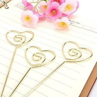 JANOU Heart Ring Loop DIY Craft Card Note Clip Photo Memo Holder Cake Topper Decoration (Gold) Pack 20pcs