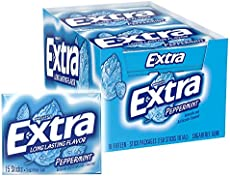 Extra Gum Peppermint Chewing Gum, 15 Pieces (Pack of 10)