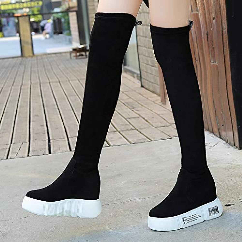 Shukun Stiefeletten Erhhte Stiefel, Damenknie, hochhackige Stiefel, Herbst und Winter, Biskuitkuchen, hohe Stiefel, Plateauschuhe