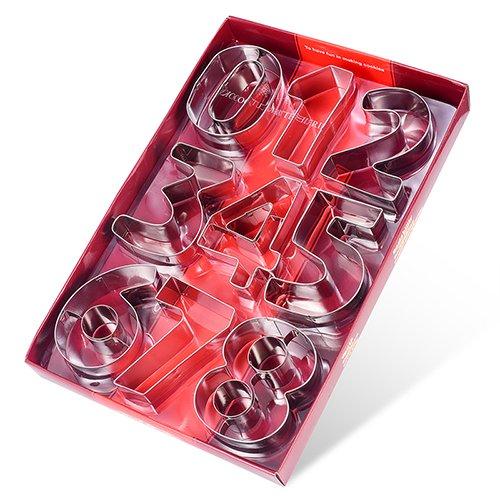Lot de 9 emporte-pièces Ertek en forme de grands chiffres - En inox - 8 cm